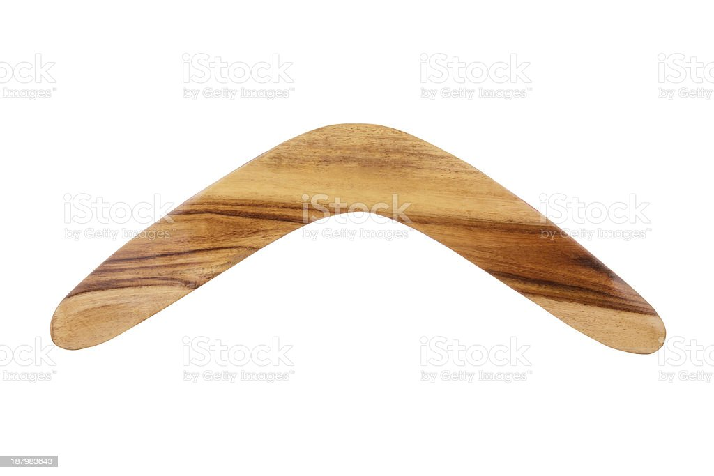 Wooden Boomerang stock photo