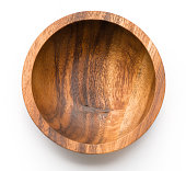 Wooden bowl isolated on white bacground. Rustic. Top view.
