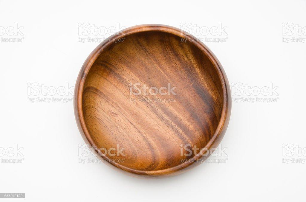 Wooden bowl isolated on White Background stock photo