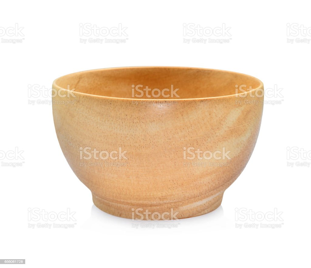 wooden bowl isolated on white background stock photo