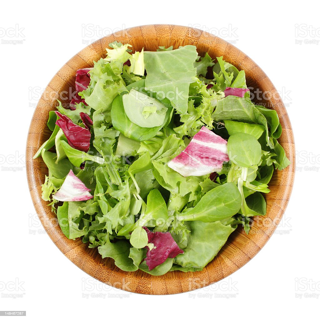 Wooden bowl of a mixed salad meal stock photo