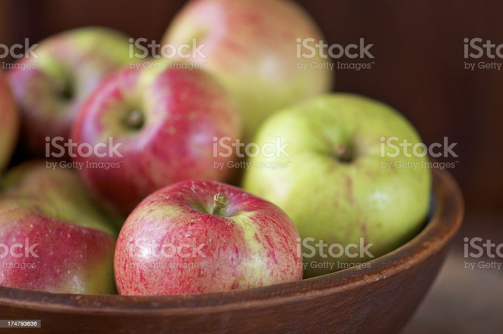 Wooden Bowl of Freshly Picked Apples royalty-free stock photo