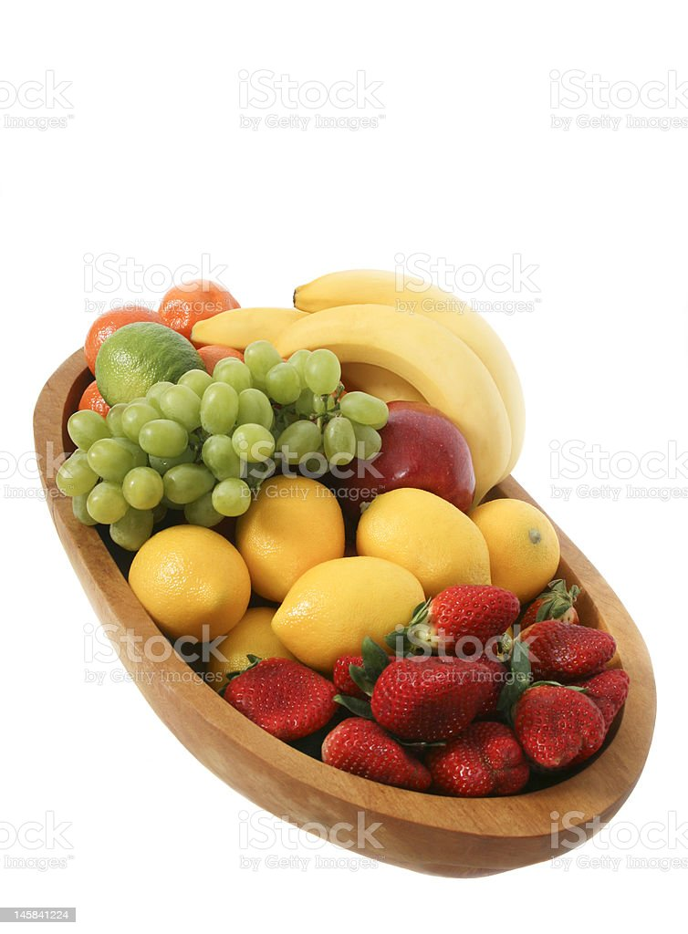 Wooden bowl of fruit royalty-free stock photo