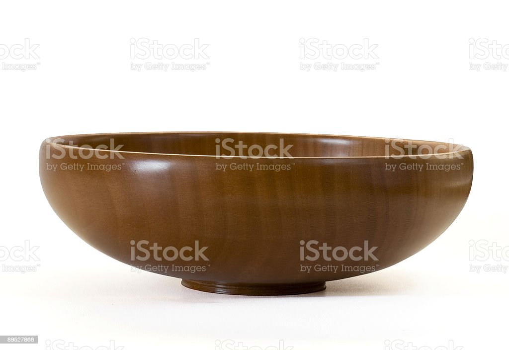 Wooden bowl with clipping path stock photo