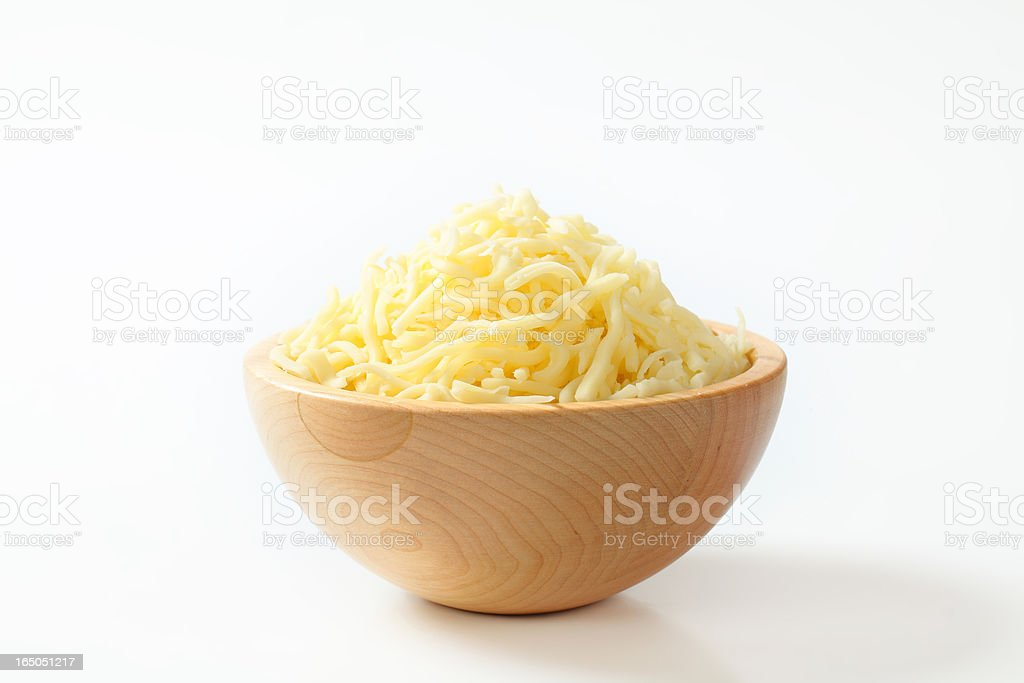 Wooden bowl with  grated cheese royalty-free stock photo