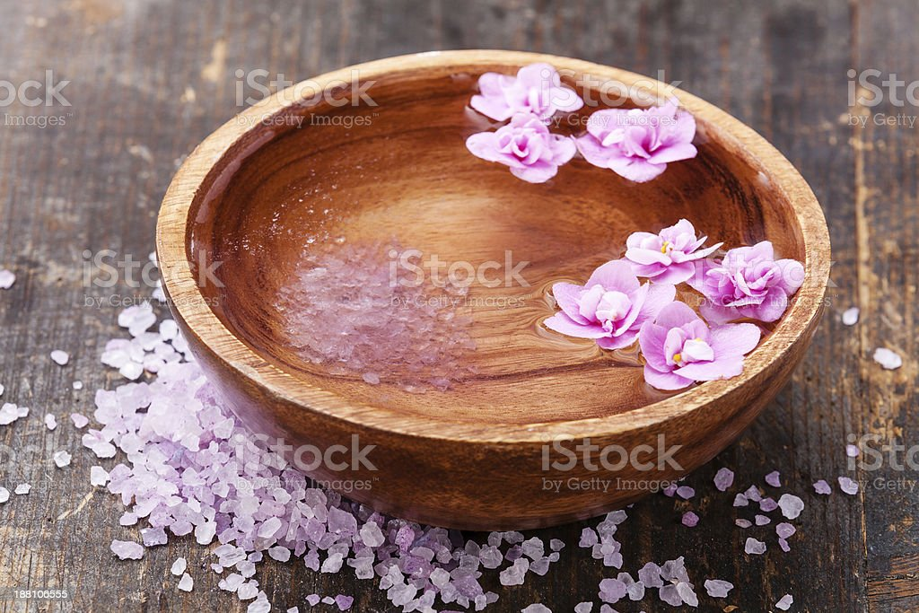 wooden bowl with sea ​​salt stock photo