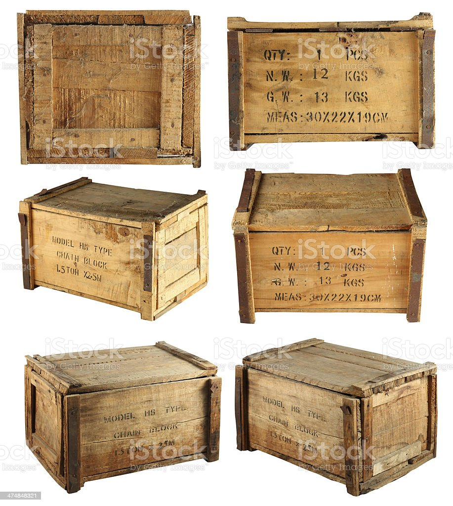 Wooden box collection1 stock photo