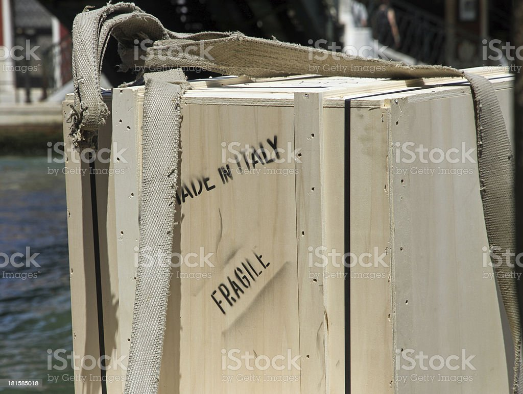 wooden box for transport of heavy material royalty-free stock photo
