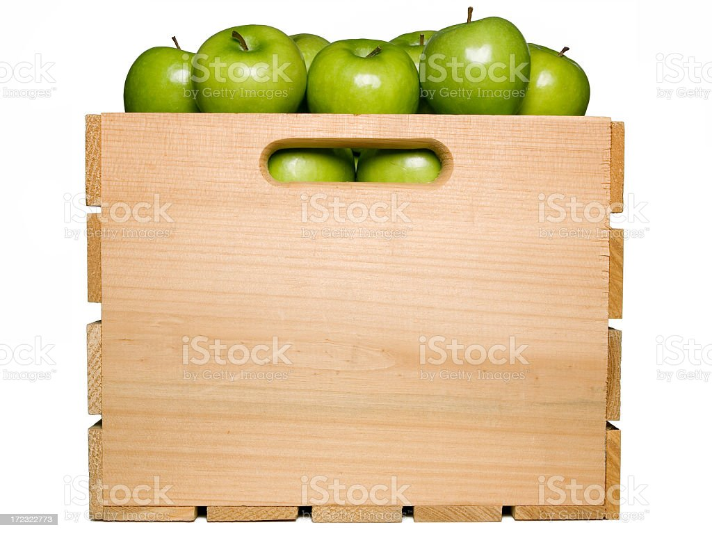 Wooden box full of green apples isolated on white stock photo