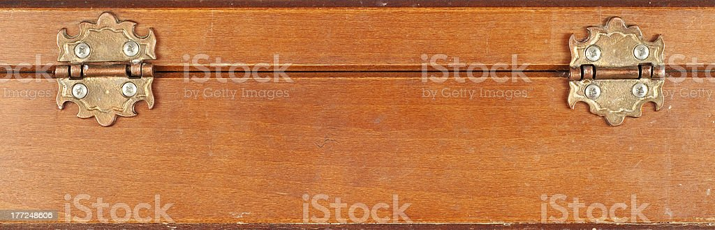 Wooden box hinges stock photo