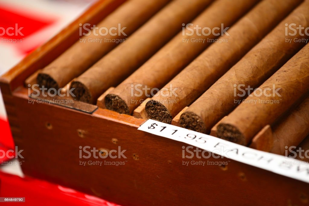 wooden Box of cigars stock photo