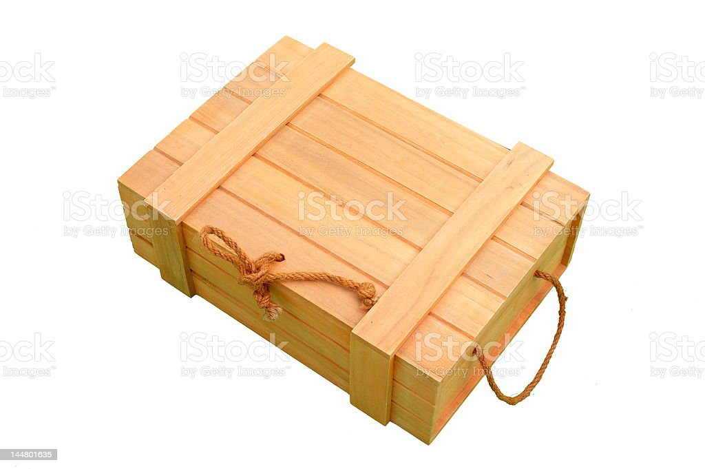 wooden box on white background royalty-free stock photo