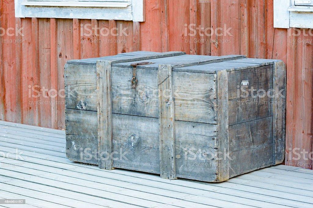 Wooden box outside house stock photo