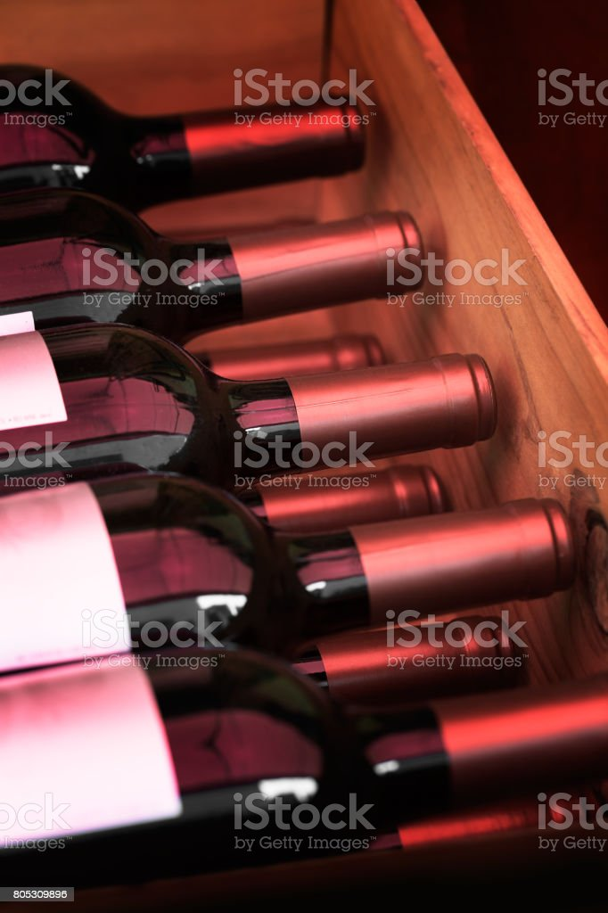 Wooden box red wine stock photo