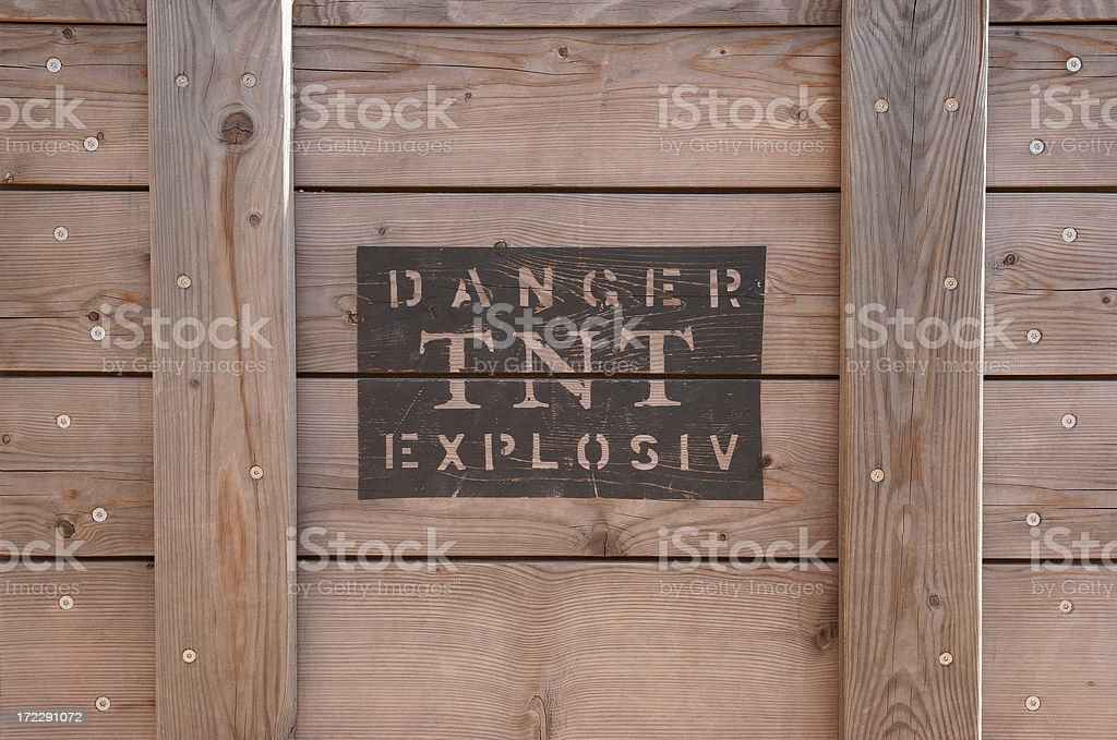 Wooden box - TNT explosives stock photo