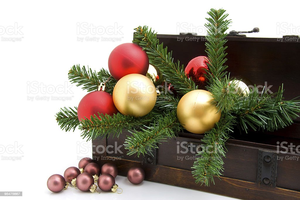 wooden box with christmas decoration stock photo