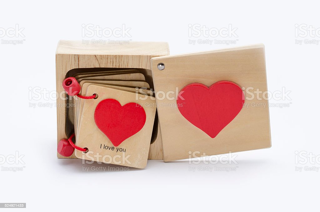 Wooden box with love message royalty-free stock photo