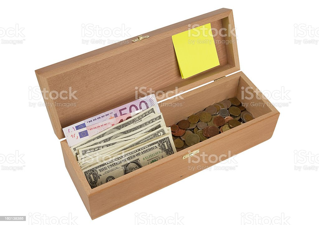 Wooden box with money, top view royalty-free stock photo