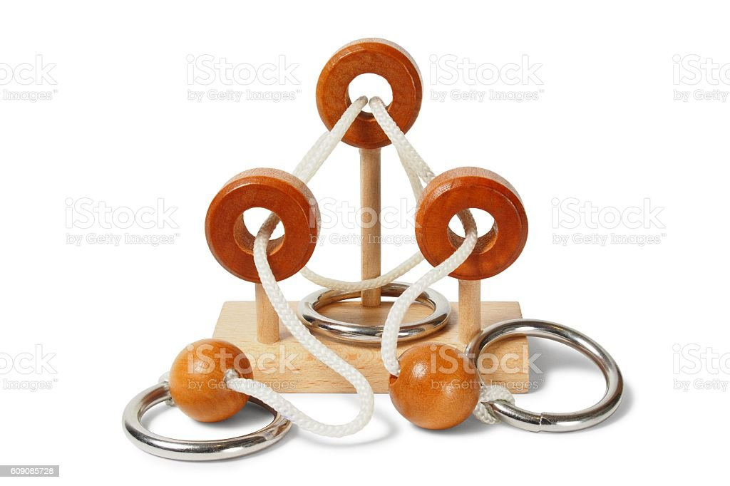 Wooden brain teaser stock photo
