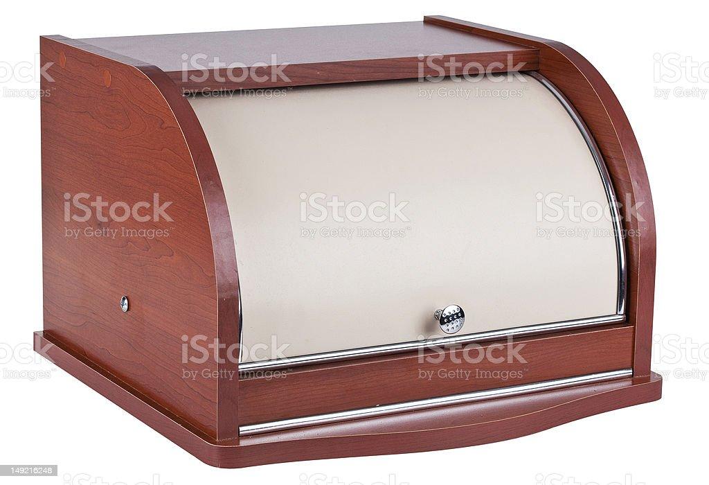 wooden bread box stock photo