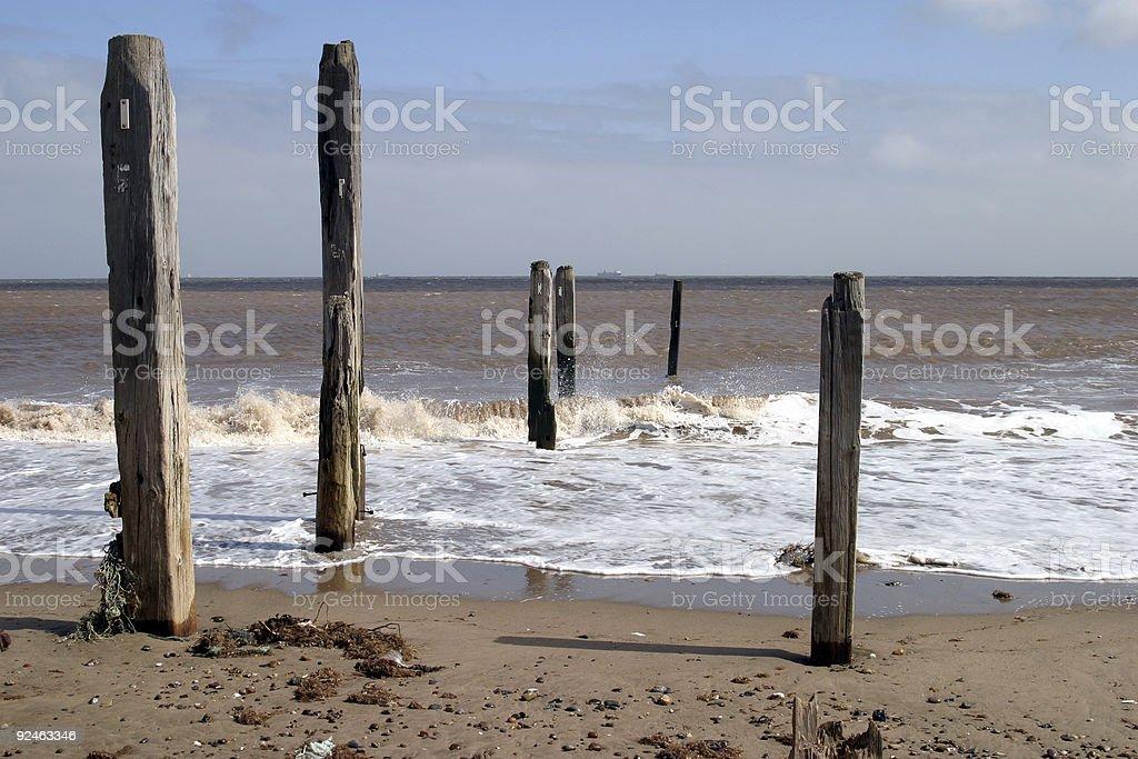 Wooden Breakwaters royalty-free stock photo
