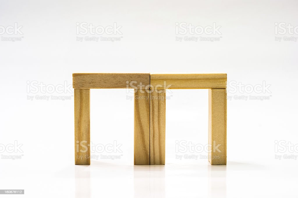 Wooden bricks construction royalty-free stock photo