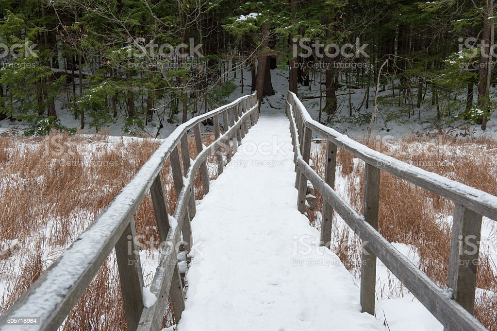Wooden bridge covered in snow in Maine stock photo