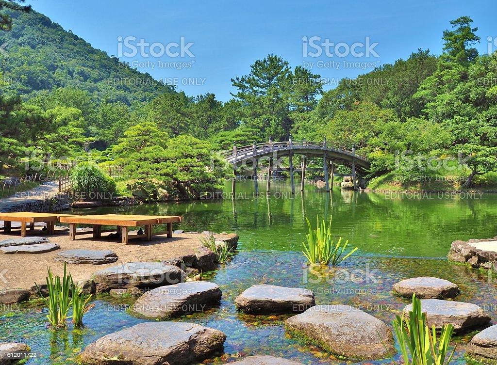 wooden bridge - Engetsukyo in Ritsurin Garden stock photo