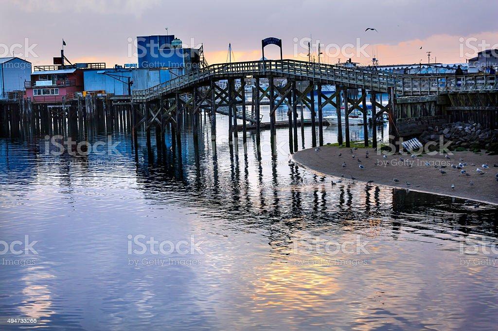 Wooden Bridge Fish Processor Westport Grays Harbor Washington stock photo