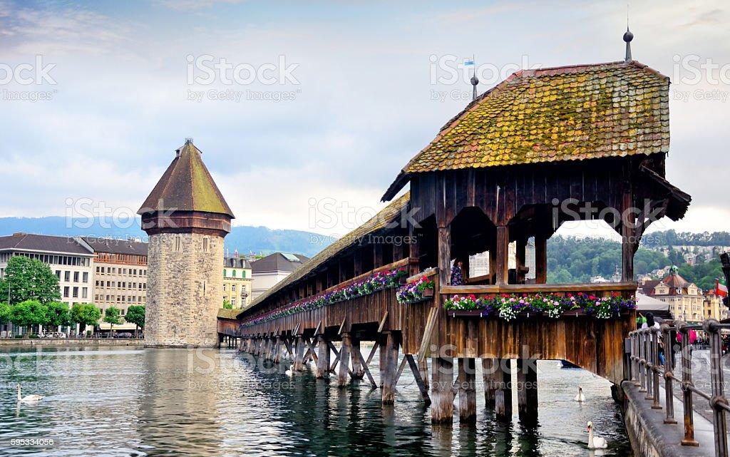 Wooden bridge in Lucerne stock photo