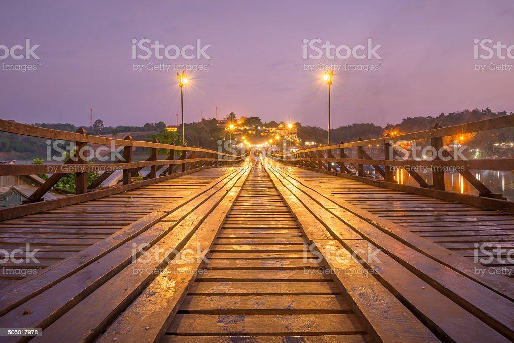 Wooden bridge (Mon Bridge) in Sangkhlaburi District, Kanchanaburi, Thailand stock photo