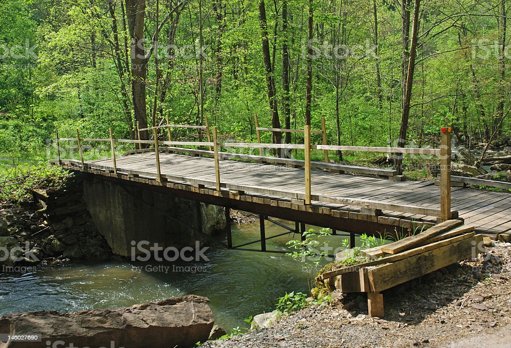Wooden Bridge in the Country royalty-free stock photo