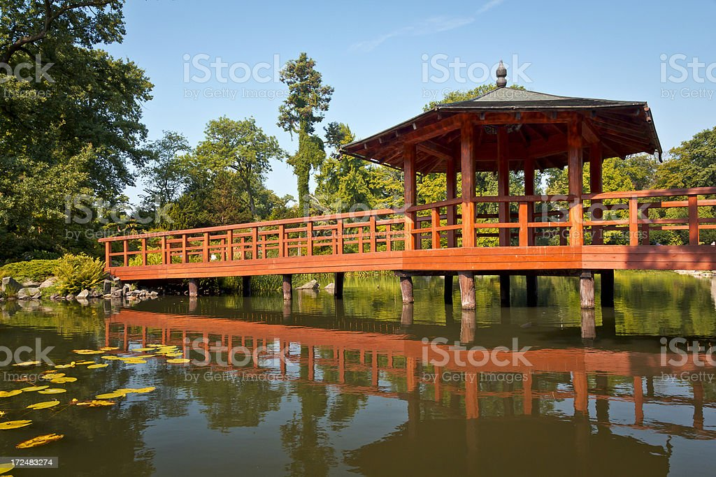 Wooden bridge in the park royalty-free stock photo