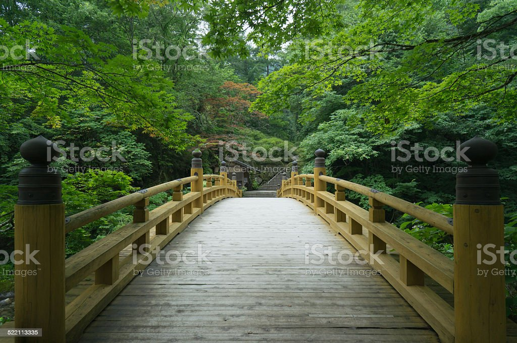 Wooden bridge in traditional Japanese garden, Kyoto stock photo