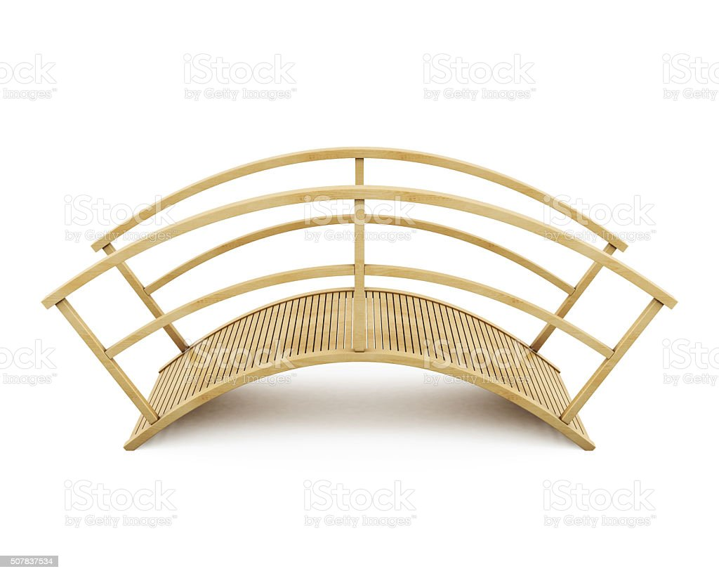 Wooden bridge isolated on a white background. 3d rendering stock photo