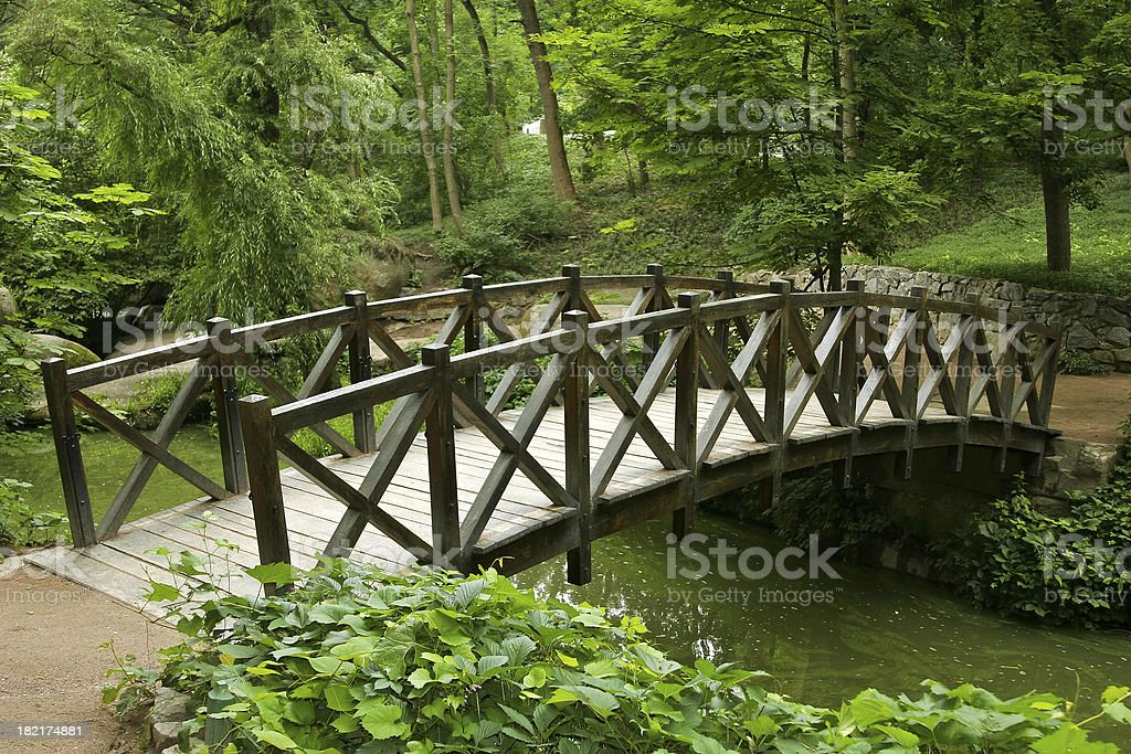 Wooden bridge over a stream through a landscaped garden stock photo