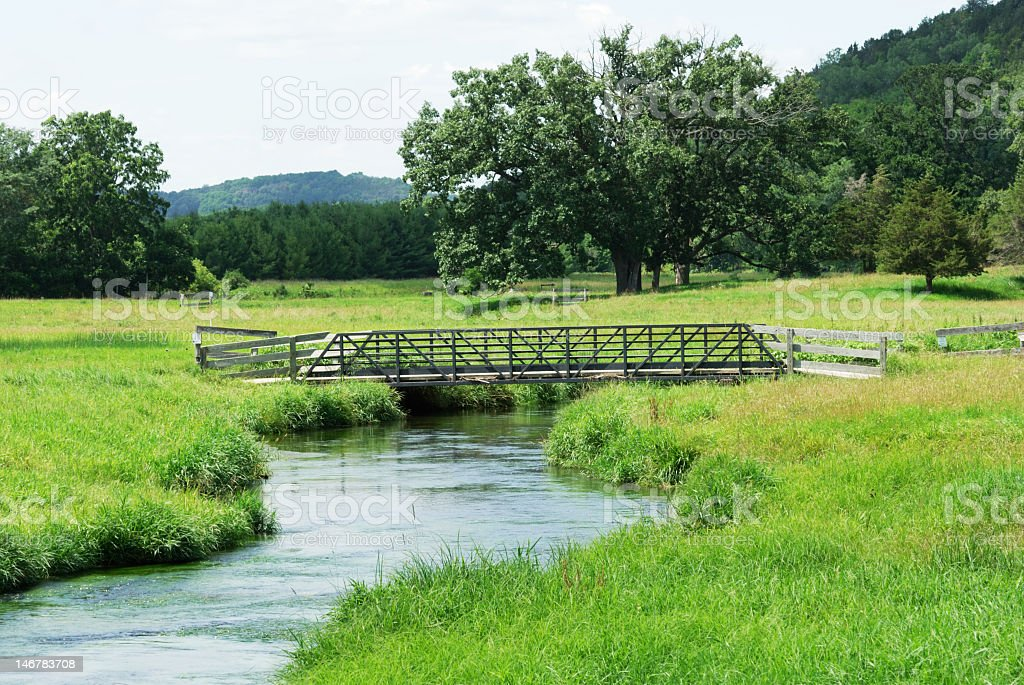 Wooden bridge over creek in grassy meadow royalty-free stock photo