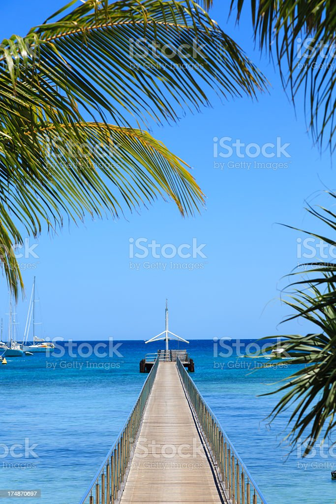 Wooden Bridge Over Ocean and Palm Tree at Tropical Destination royalty-free stock photo