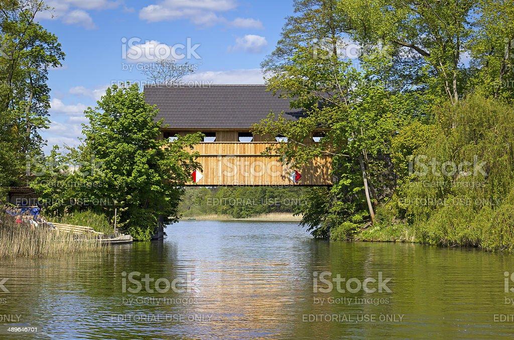 Wooden Bridge over the River Havel stock photo