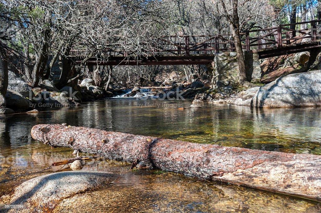 Wooden bridge over the river Manzanares stock photo