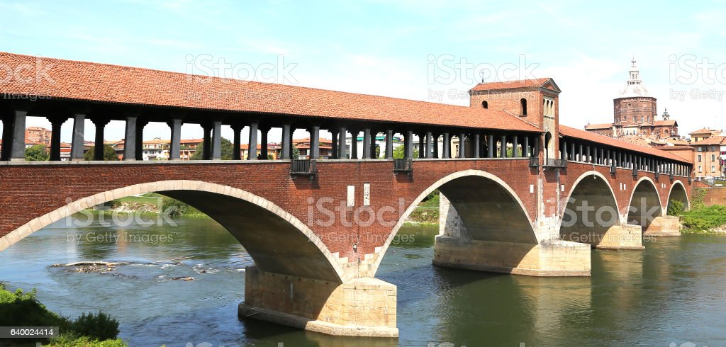wooden bridge over the TICINO River in Pavia City stock photo