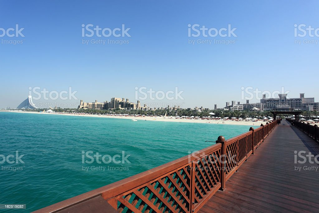 Wooden Bridge Over Water Jumeirah Resort Dubai stock photo