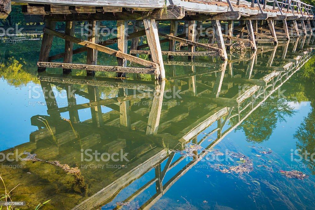Wooden bridge. stock photo