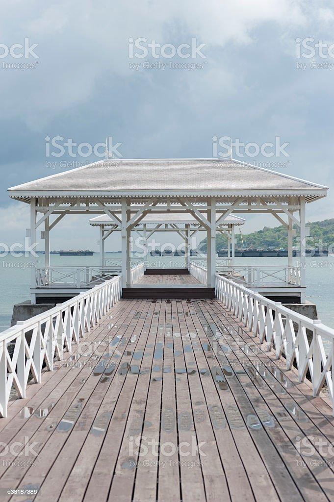 wooden bridge pier at Koh Sri Chang. Chonburi, Thailand stock photo