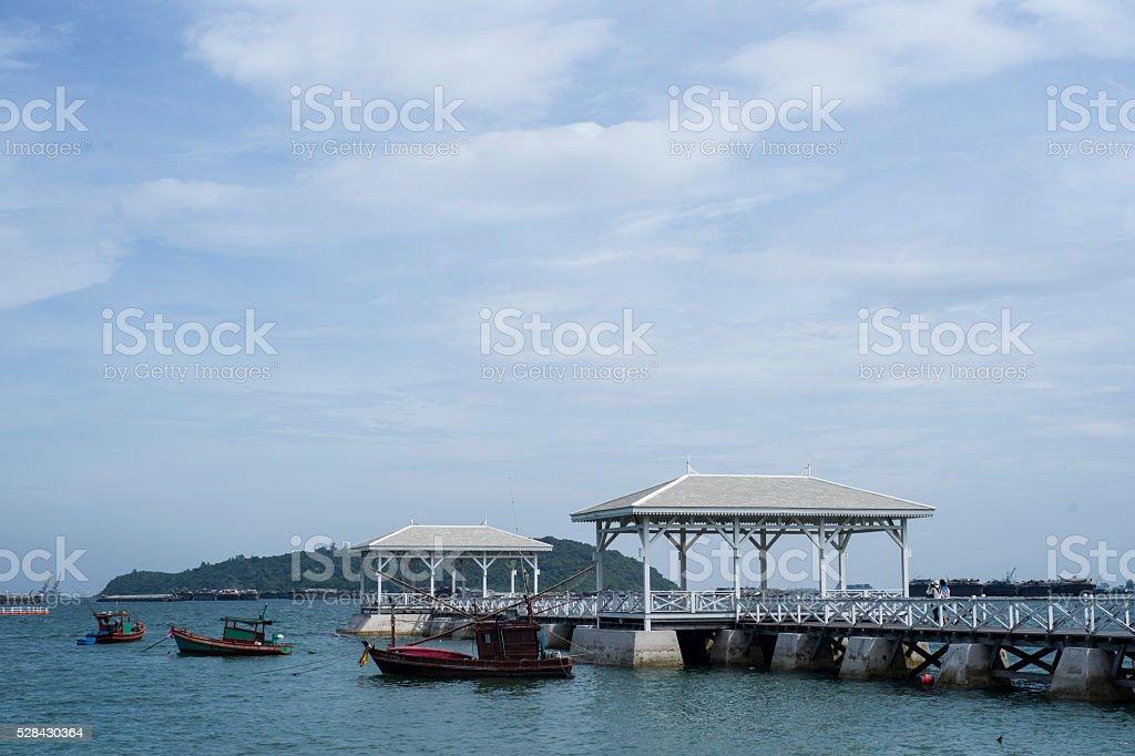wooden bridge pier in Koh Sri Chang. Chonburi, Thailand stock photo