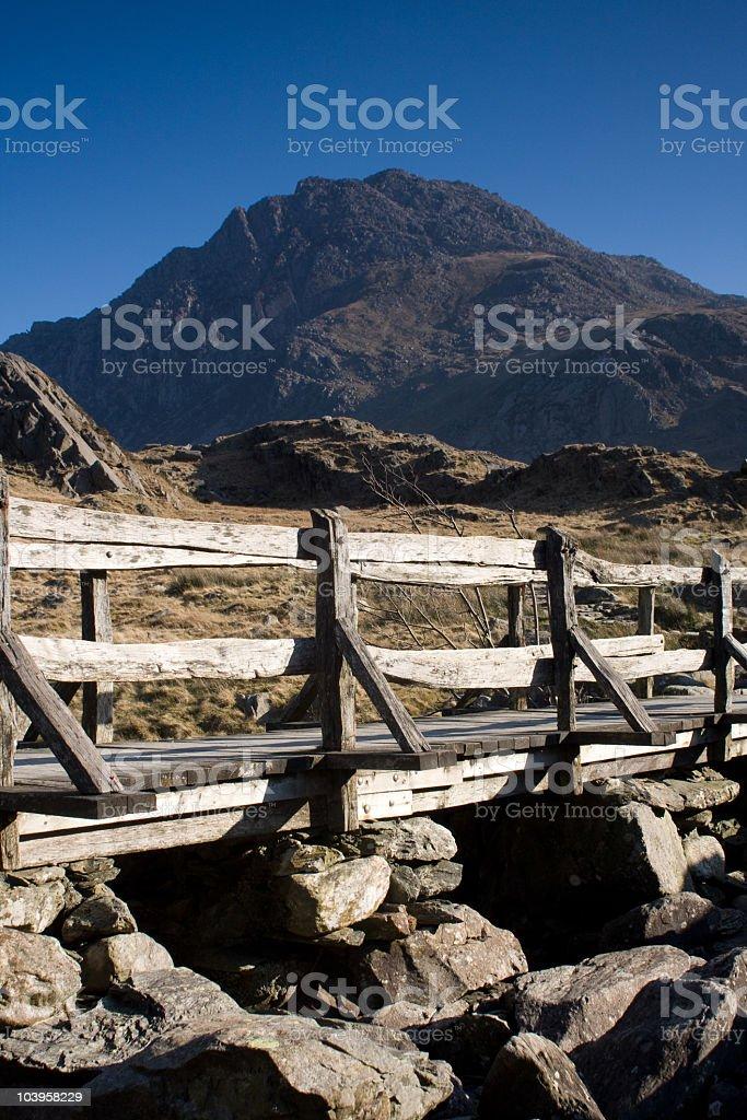Wooden Bridge to the Devil's Kitchen stock photo