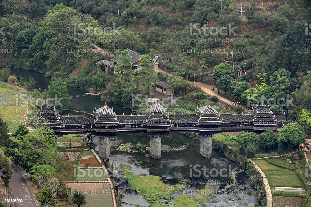Wooden bridge village Chengyang, tourist attractions in the vicinity Sanjiang. stock photo