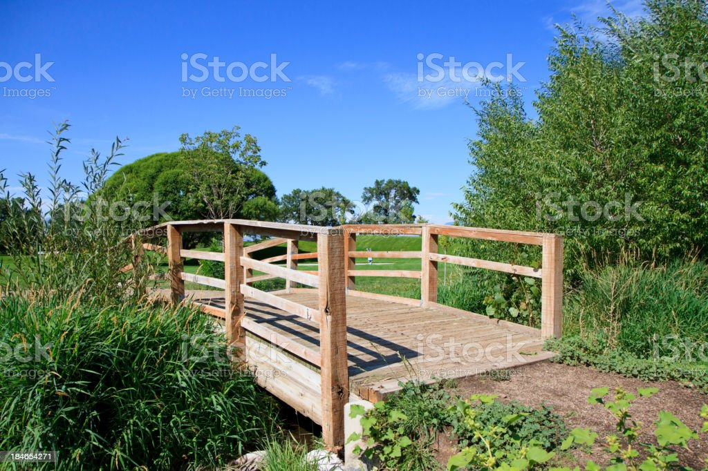 Wooden Bridge with Blue Sky royalty-free stock photo