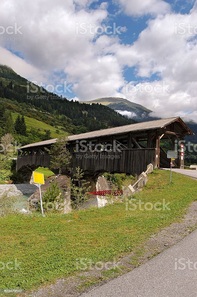 Wooden Bridge with Roof - Engadine Switzerland stock photo