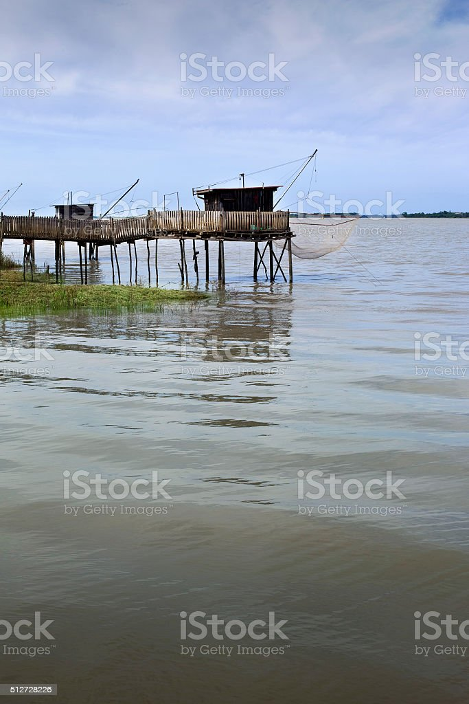 Wooden bridges and huts stock photo